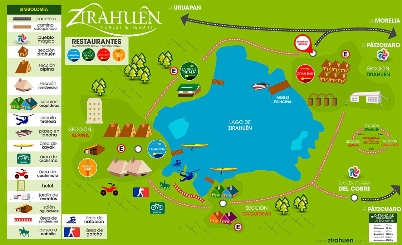 Map Zirahuén Forest and Resort
